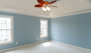 A freshly painted room with light blue walls